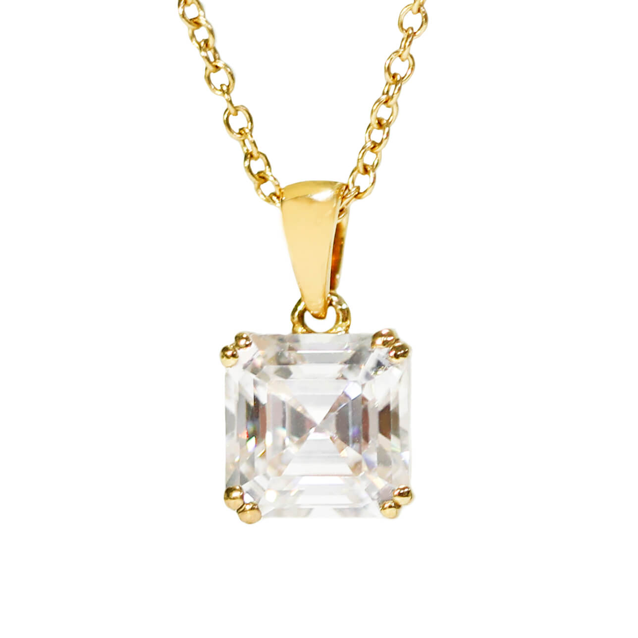 Asscher Cut Moissanite 18K Yellow Gold Pendant