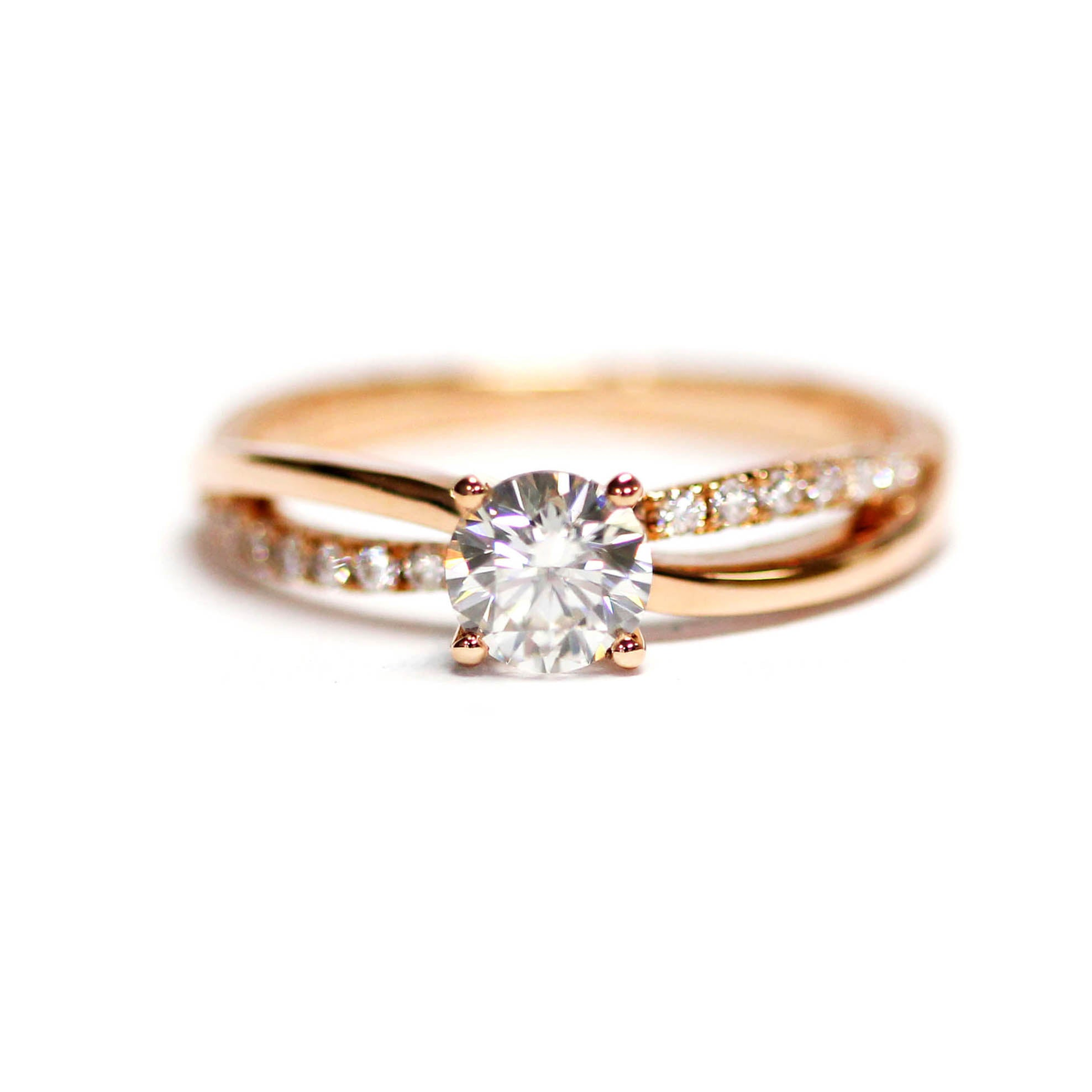 Round Brilliant Moissanite Solitaire Accents 18K Rose Gold Ring