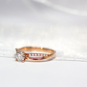 Nisha 1 Carat Moissanite Split-Shank in 18K Rose Gold - LeCaine Gems