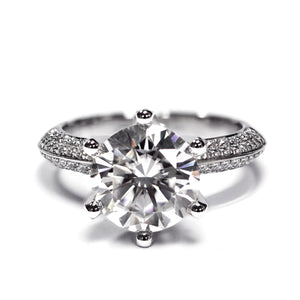 2 Carat Moissanite Knife-Edge Pave Engagement Ring - Lecaine Gems Moissanite