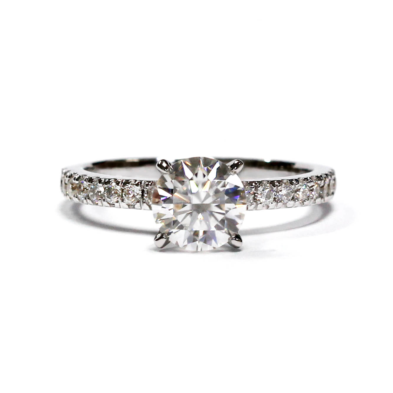 1 Carat Moissanite Crown Setting with Accent Stones