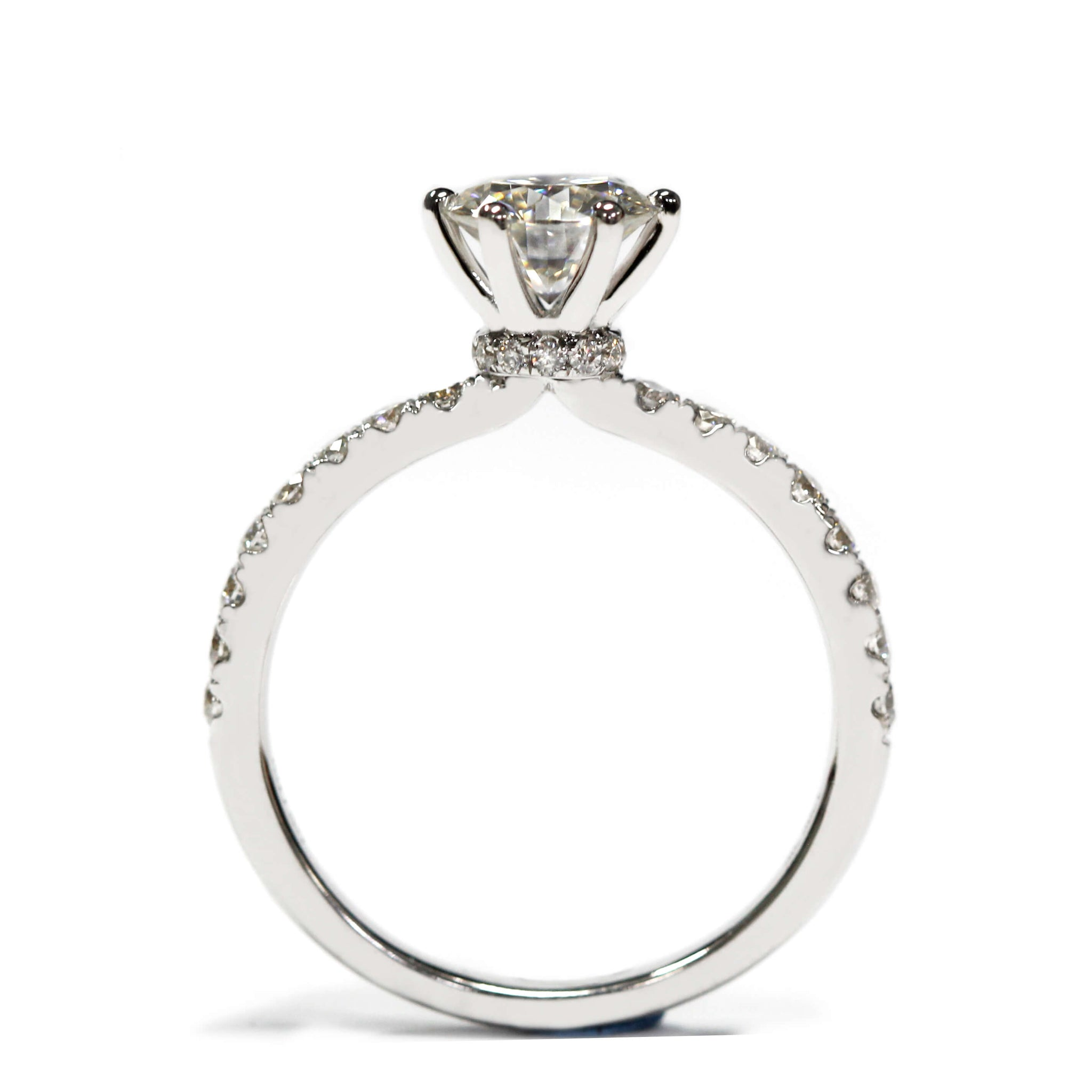 1 Carat Moissanite 6 Prong Crown Setting with Accent Stones