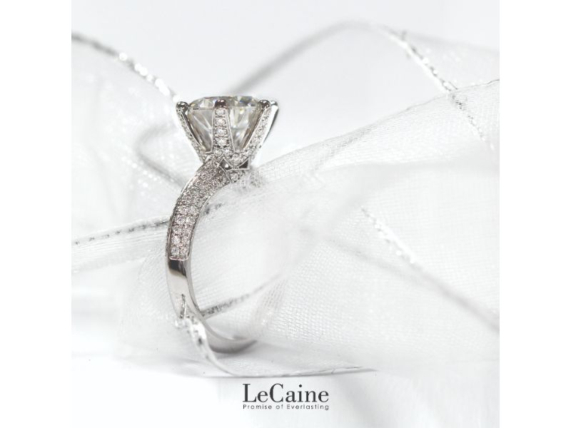 2 Carat Moissanite Knife-Edge Pave Engagement Ring