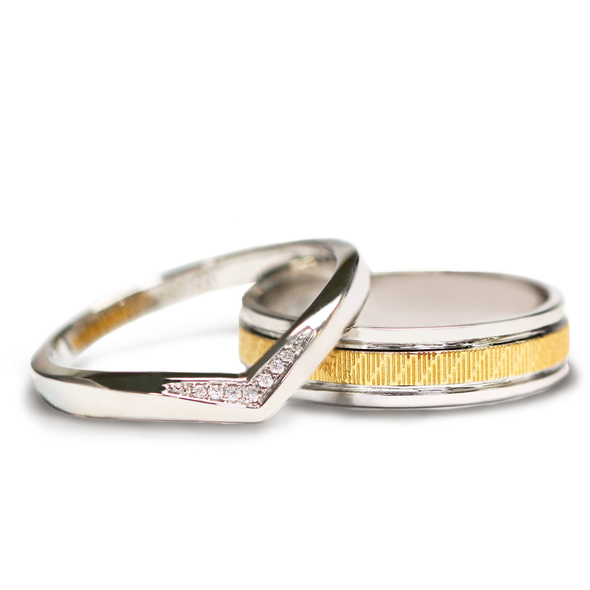 Benjamin Wedding Bands in Art-Carved Yellow Gold and Beautifully Crafted V Stacking Ring - LeCaine Gems