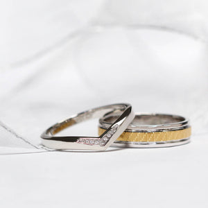Benjamin Wedding Bands in Art-Carved Yellow Gold and Beautifully Crafted V Stacking Ring - Lecaine Gems Moissanite