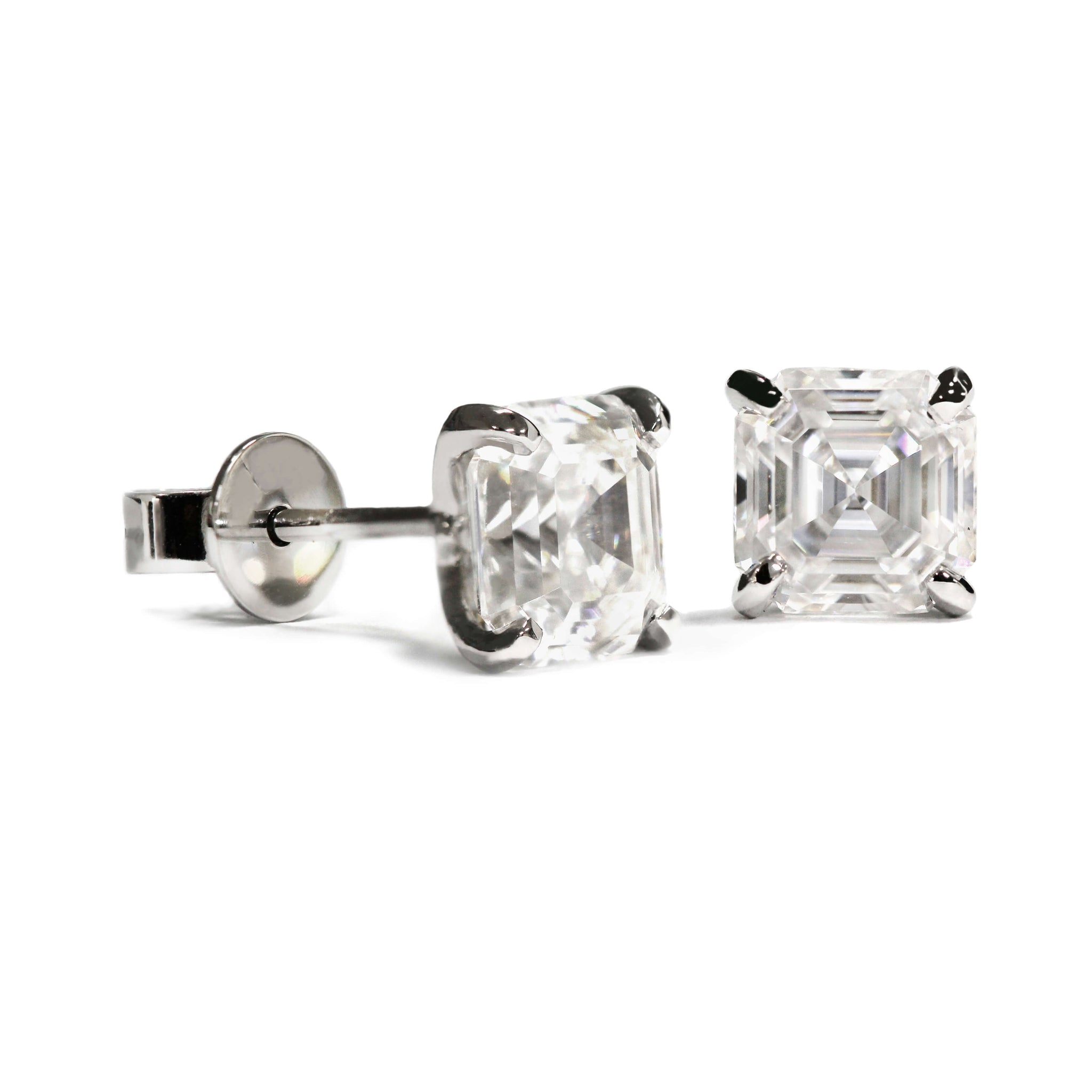 1.5 Carat Asscher Moissanite Platinum Stud Earrings