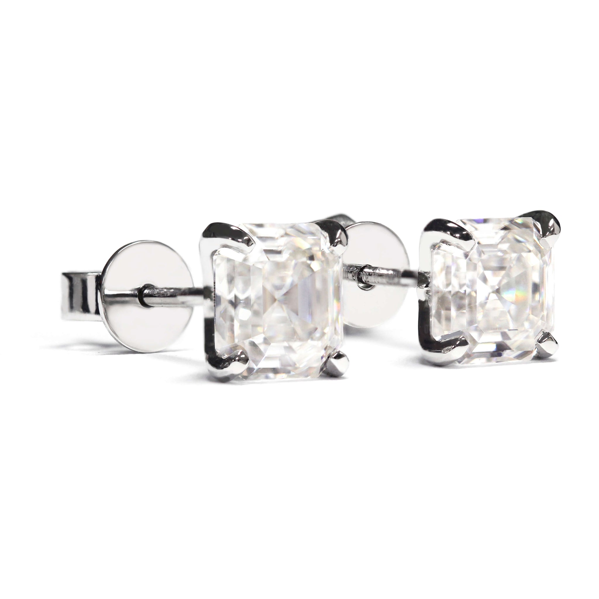 Asscher Moissanite 18K White Gold Stud Earrings