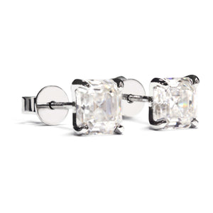 Asscher Moissanite Platinum Stud Earrings - LeCaine Gems