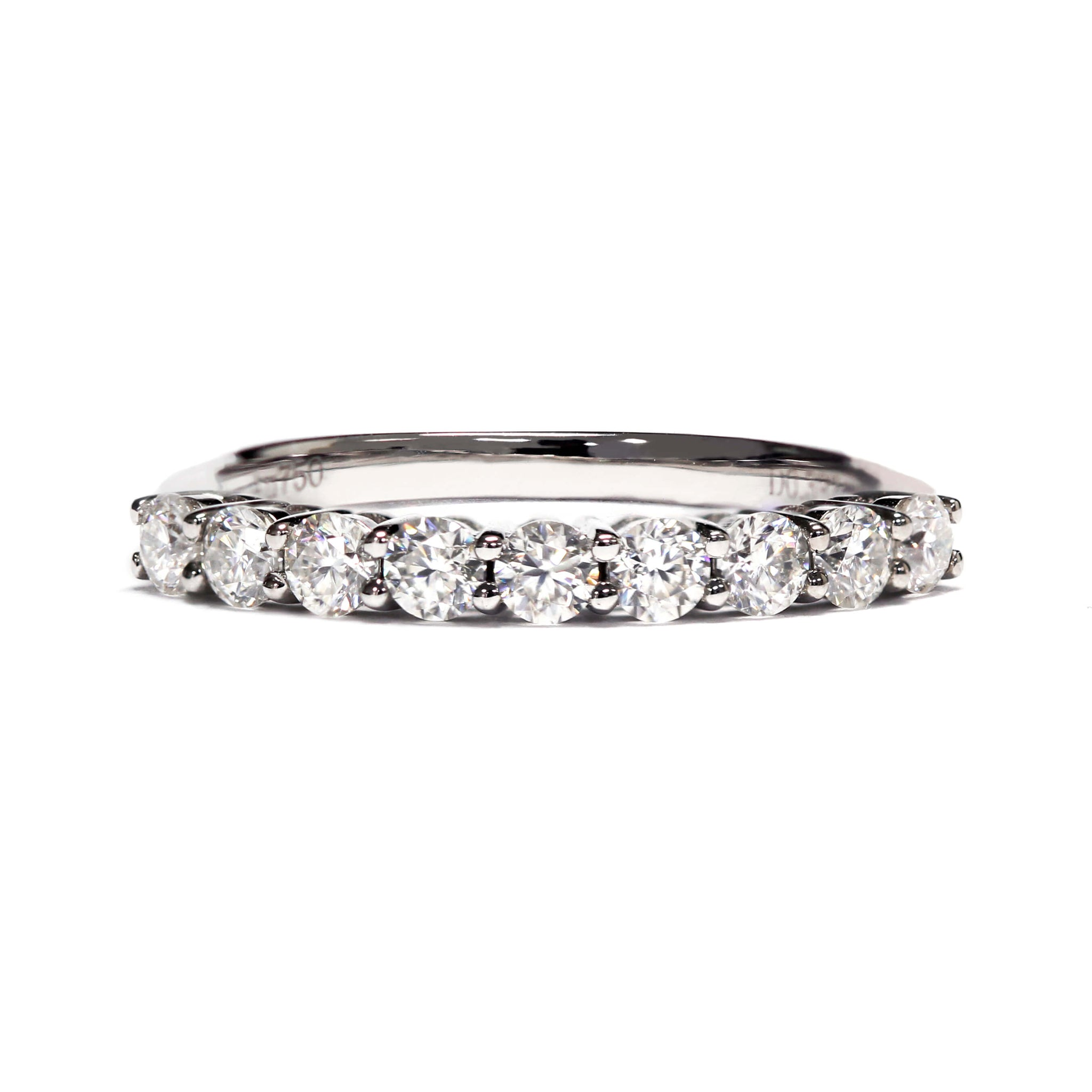 Moissanite Stacking Ring 18K White Gold
