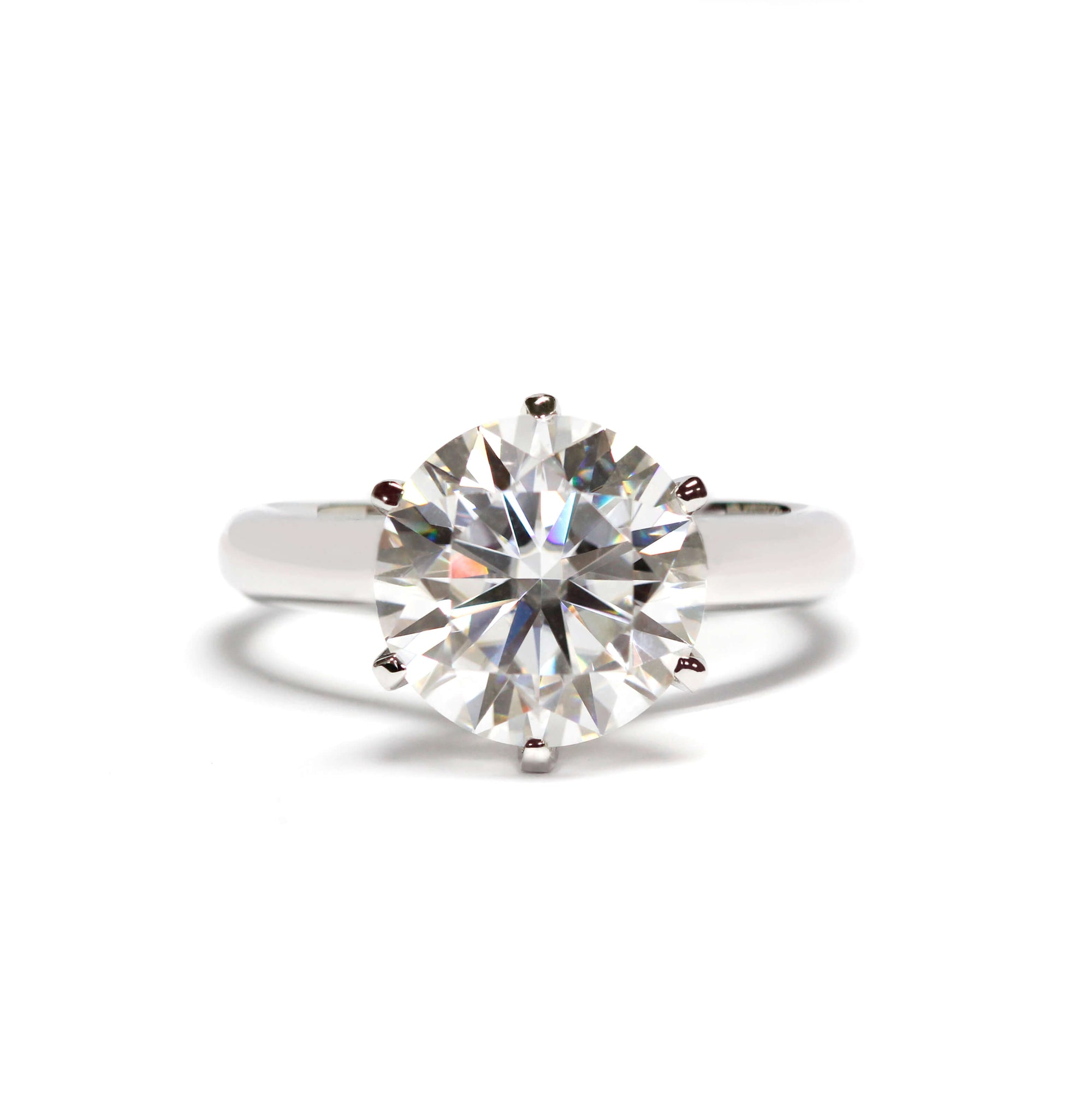 Round Moissanite Solitaire 18K White Gold Round Band - LeCaine Gems