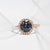 Round Halo Grey Moissanite Accent Ring - Lecaine Gems Moissanite