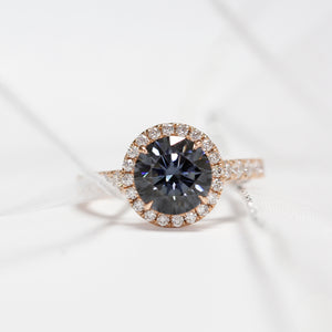 Ready Made | Round Halo Grey Moissanite Accent Ring - Lecaine Gems Moissanite