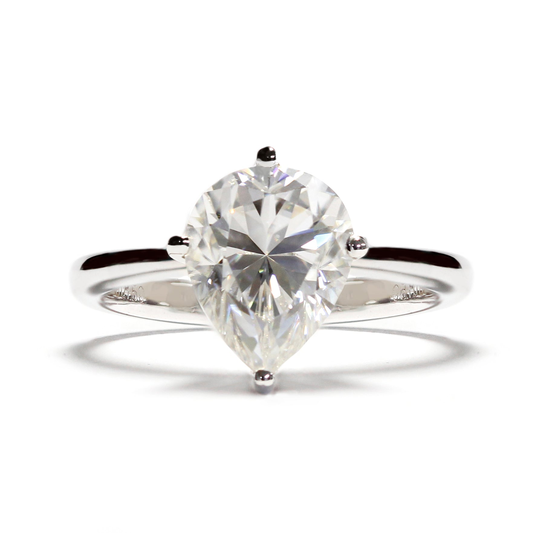 Pear Moissanite Solitaire on 18K White Gold Ring - Lecaine Gems Moissanite