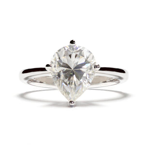 2 Carat Pear Moissanite on 18K White Gold Ring - LeCaine Gems