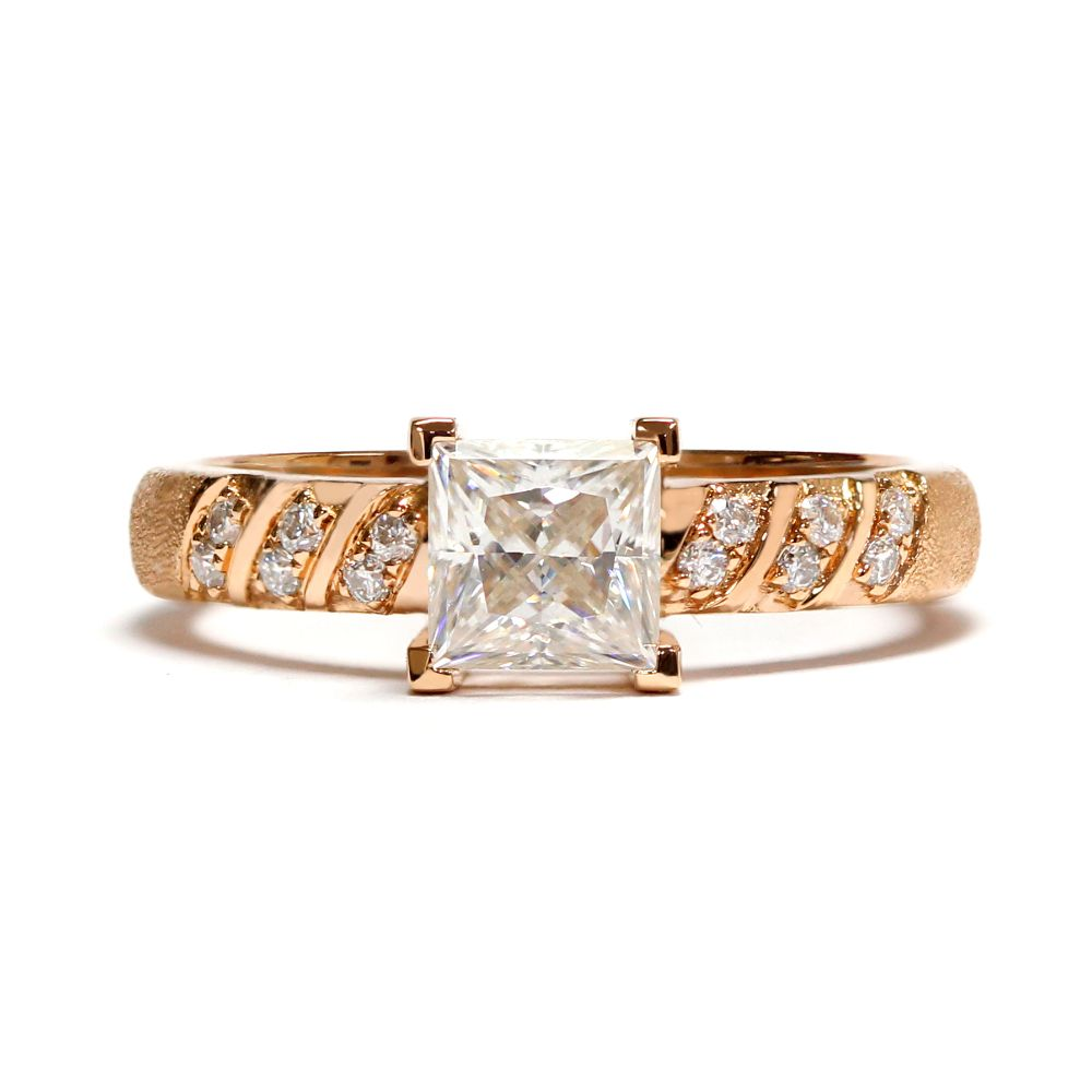 1 CARAT PRINCESS CUT MOISSANITE ACCENT RING SANDBLASTED 18K ROSE GOLD