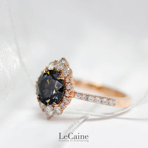 2 Carat Vintage Halo Grey Moissanite Ring - Lecaine Gems Moissanite