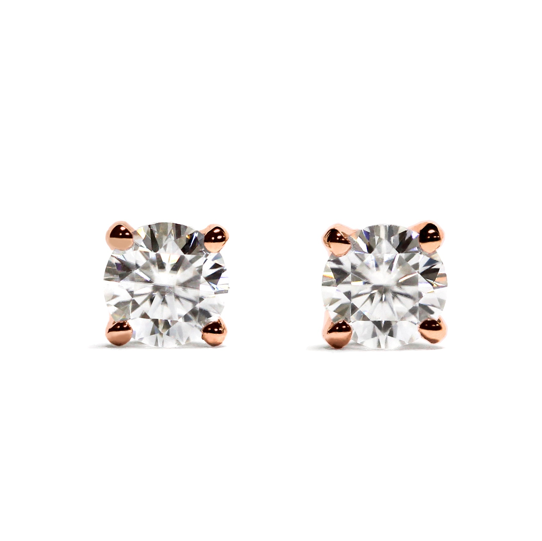0.3 Carat Moissanite Solitaire 18K Gold Stud Earrings with Soft Silicone Gold Insert Backings