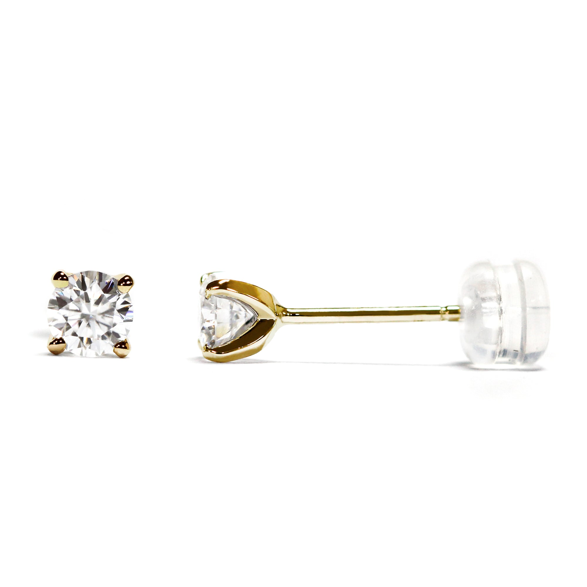 0.3 Carat Moissanite Solitaire 18K Gold Stud Earrings with Soft Silicone Gold Insert Backings - LeCaine Gems