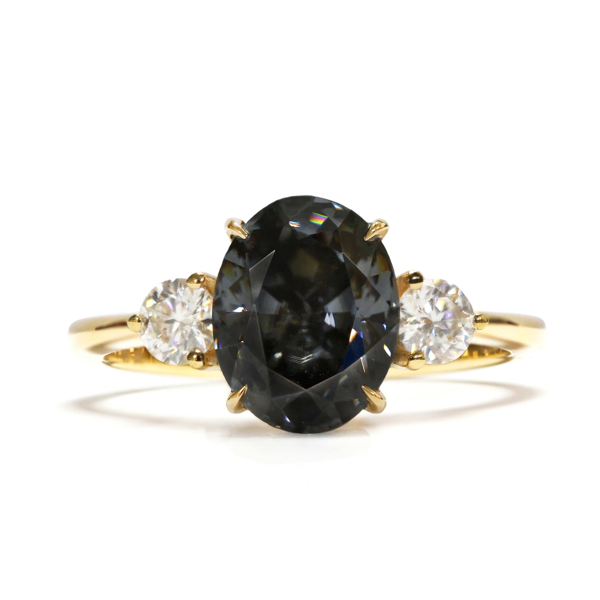 3-Stone Engagement Ring with 2 Carat Oval Grey Moissanite 18K Yellow Gold - LeCaine Gems