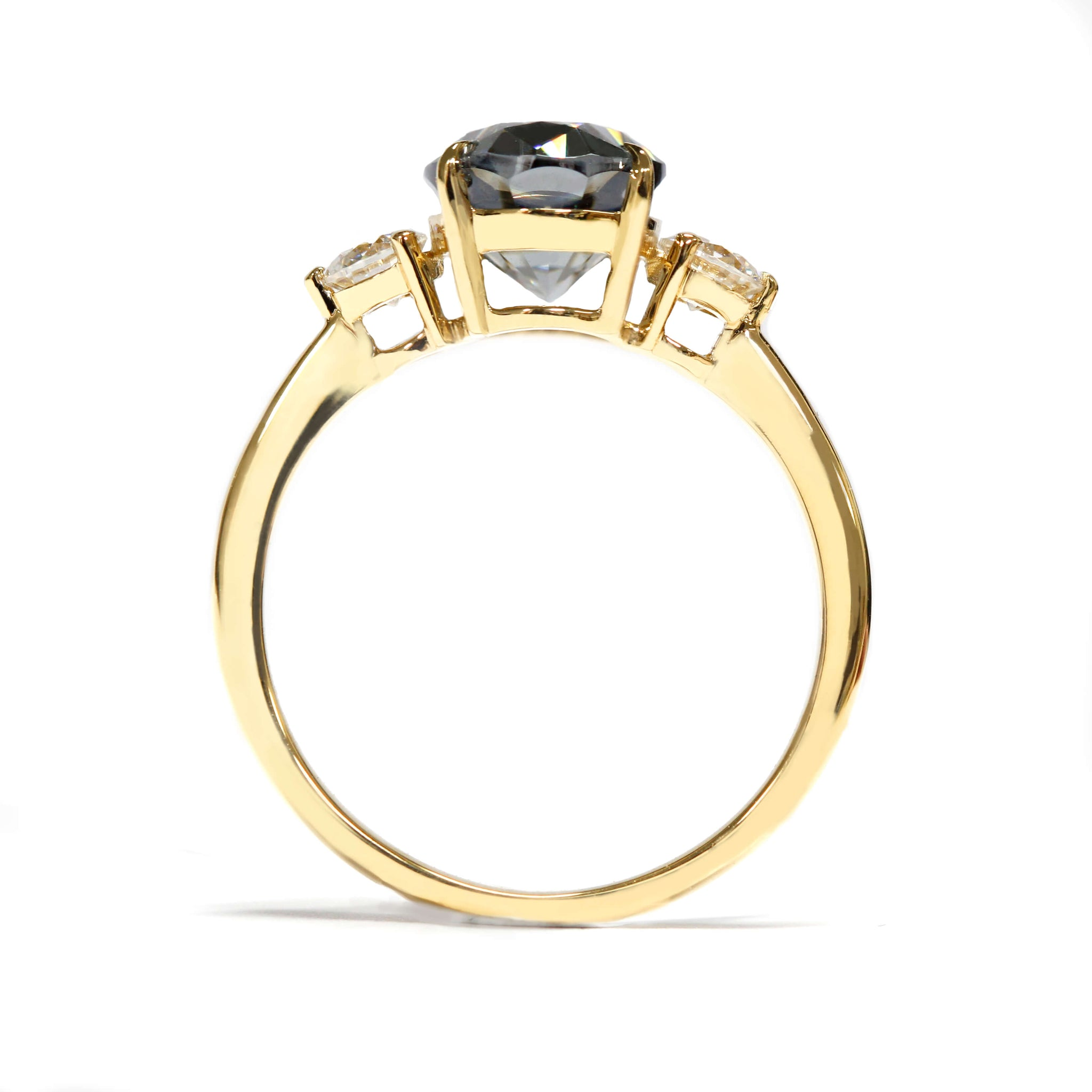 3-Stone Engagement Ring with 2 Carat Oval Grey Moissanite 18K Yellow Gold