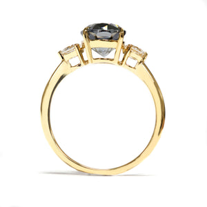 Ready-Made | 3-Stone Engagement Ring with 2 Carat Oval Grey Moissanite 18K Yellow Gold | Sizes HK 12-15 - LeCaine Gems