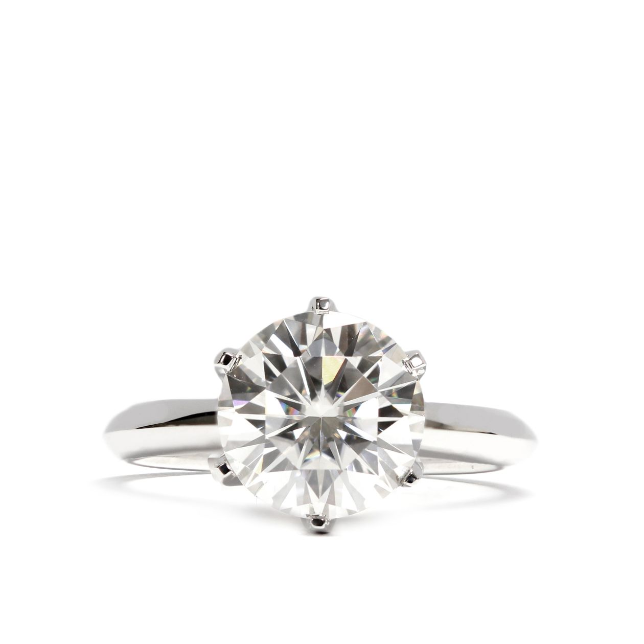 Shirley Moissanite Solitaire 6 Prong 18K White Gold Tapered Ring Band - LeCaine Gems