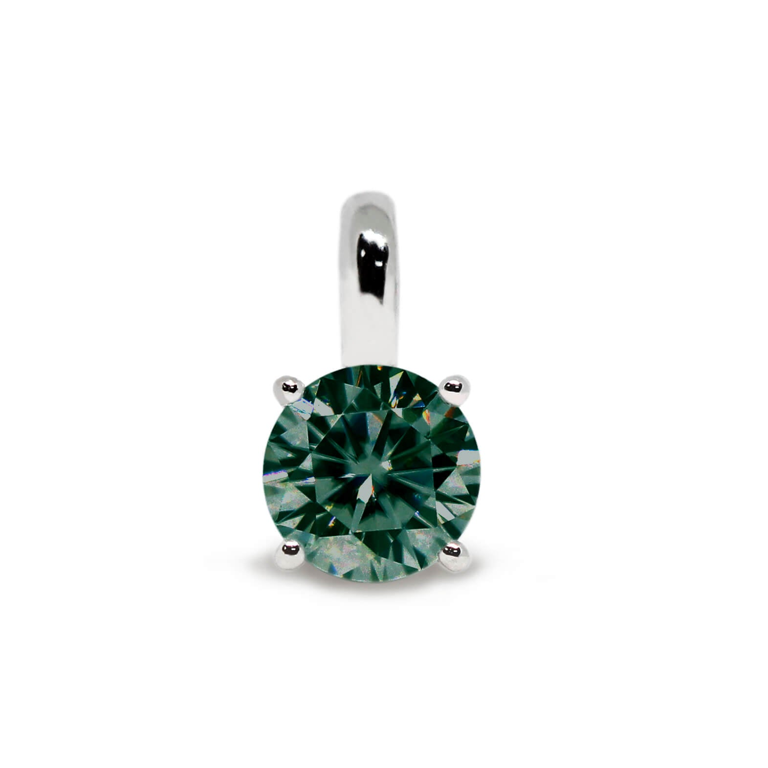 Dark Green Moissanite Round Solitaire 18K Gold Pendant
