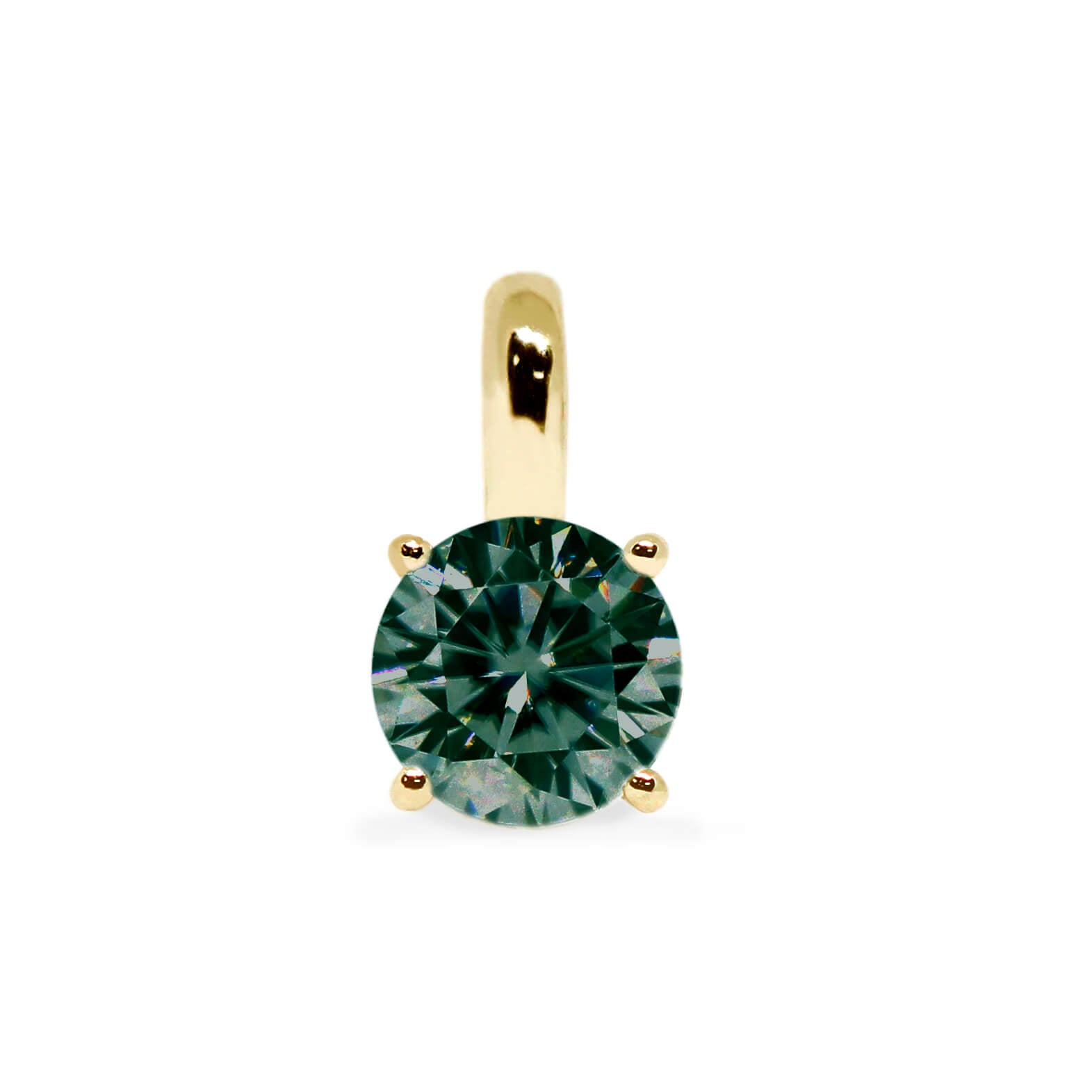 Dark Green Moissanite Round Solitaire 18K Gold Pendant - LeCaine Gems