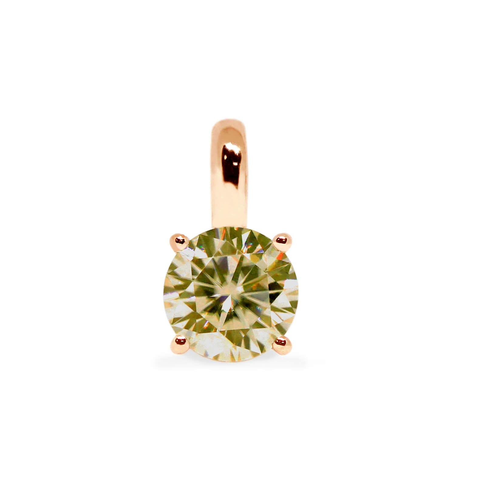 Fancy Intense Yellow Moissanite Round Solitaire 18K Gold Pendant