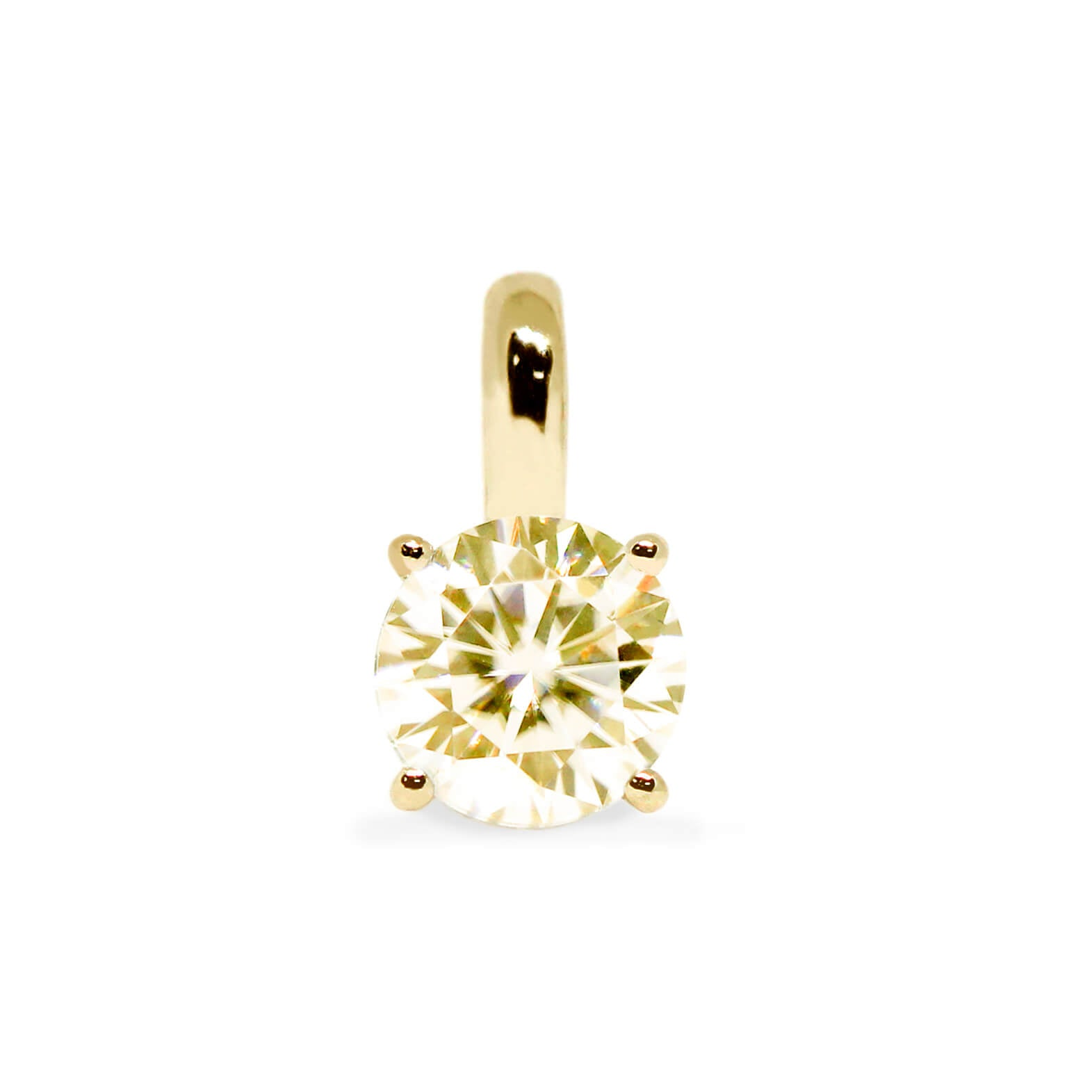 Fancy Light Yellow Moissanite Round Solitaire 18K Gold Pendant - Lecaine Gems Moissanite
