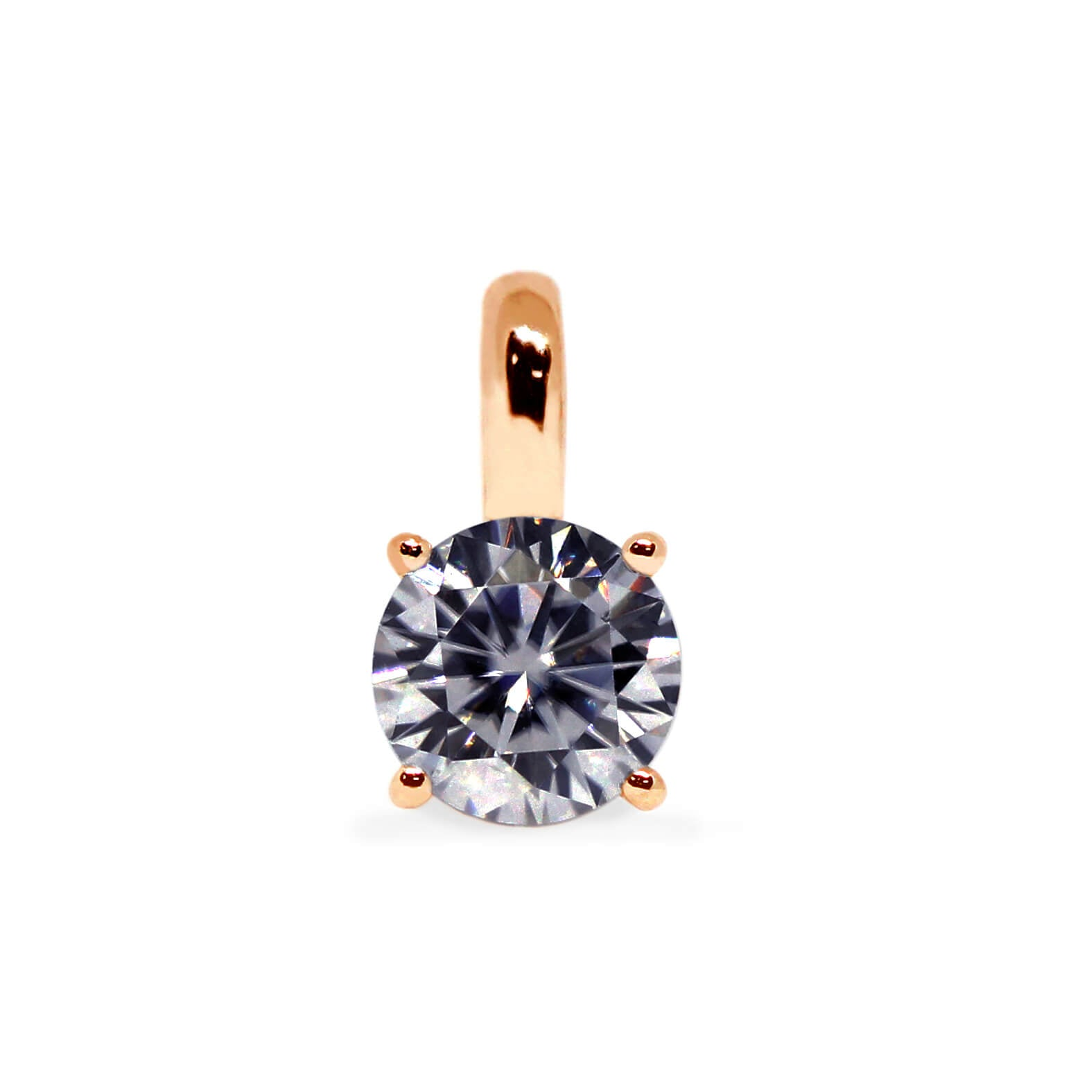 Grey Moissanite Round Solitaire 18K Gold Pendant - Lecaine Gems Moissanite