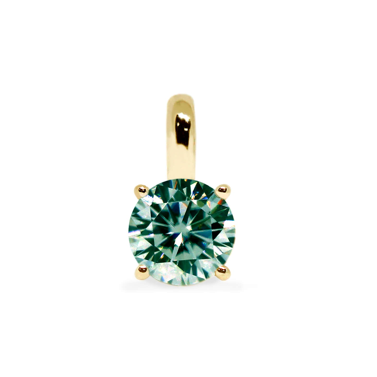 Medium Green Moissanite Round Solitaire 18K Gold Pendant