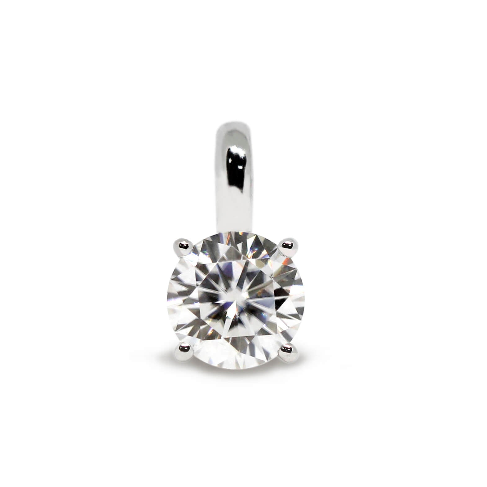 Light Grey Moissanite Round Solitaire 18K Gold Pendant
