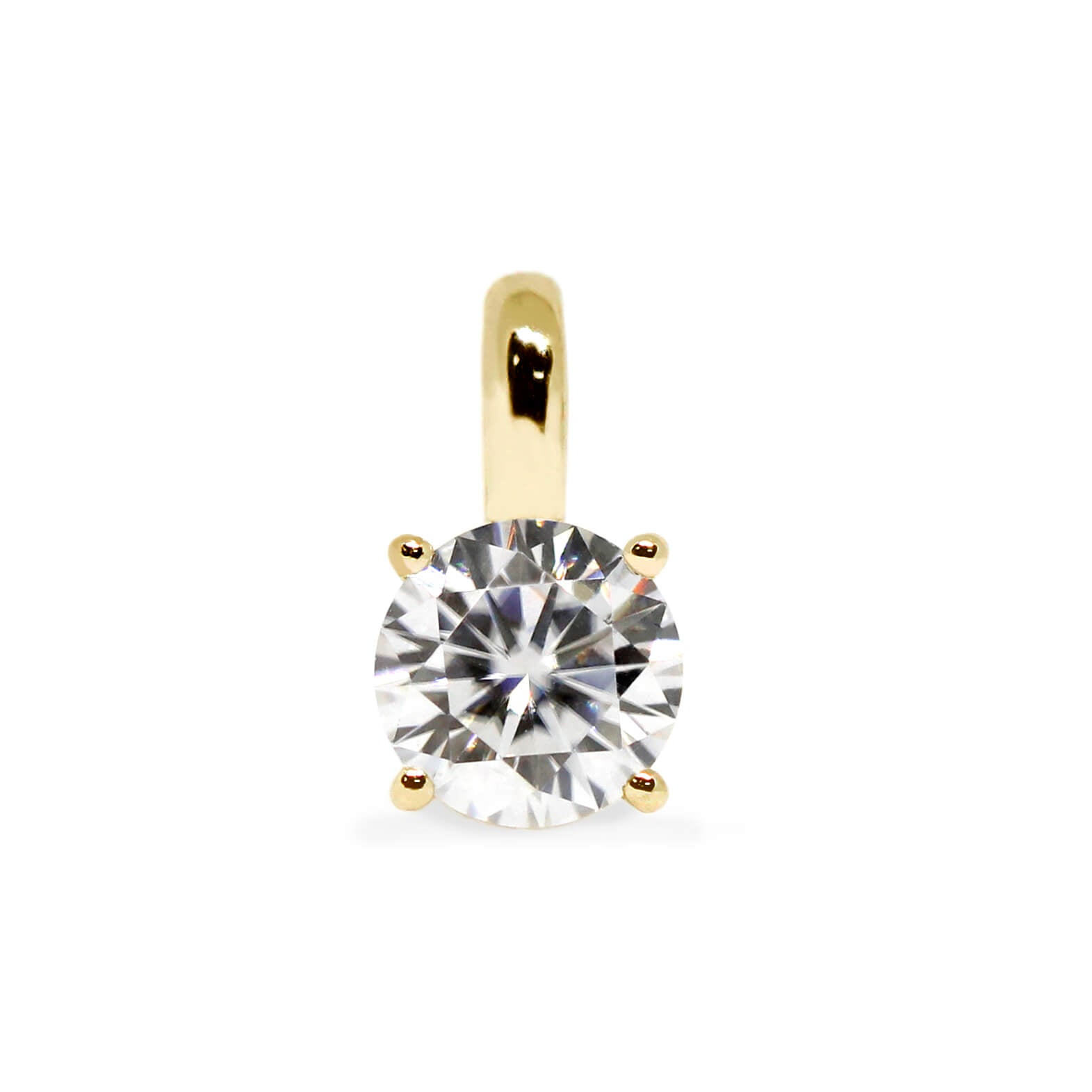 Light Grey Moissanite Round Solitaire 18K Gold Pendant - Lecaine Gems Moissanite