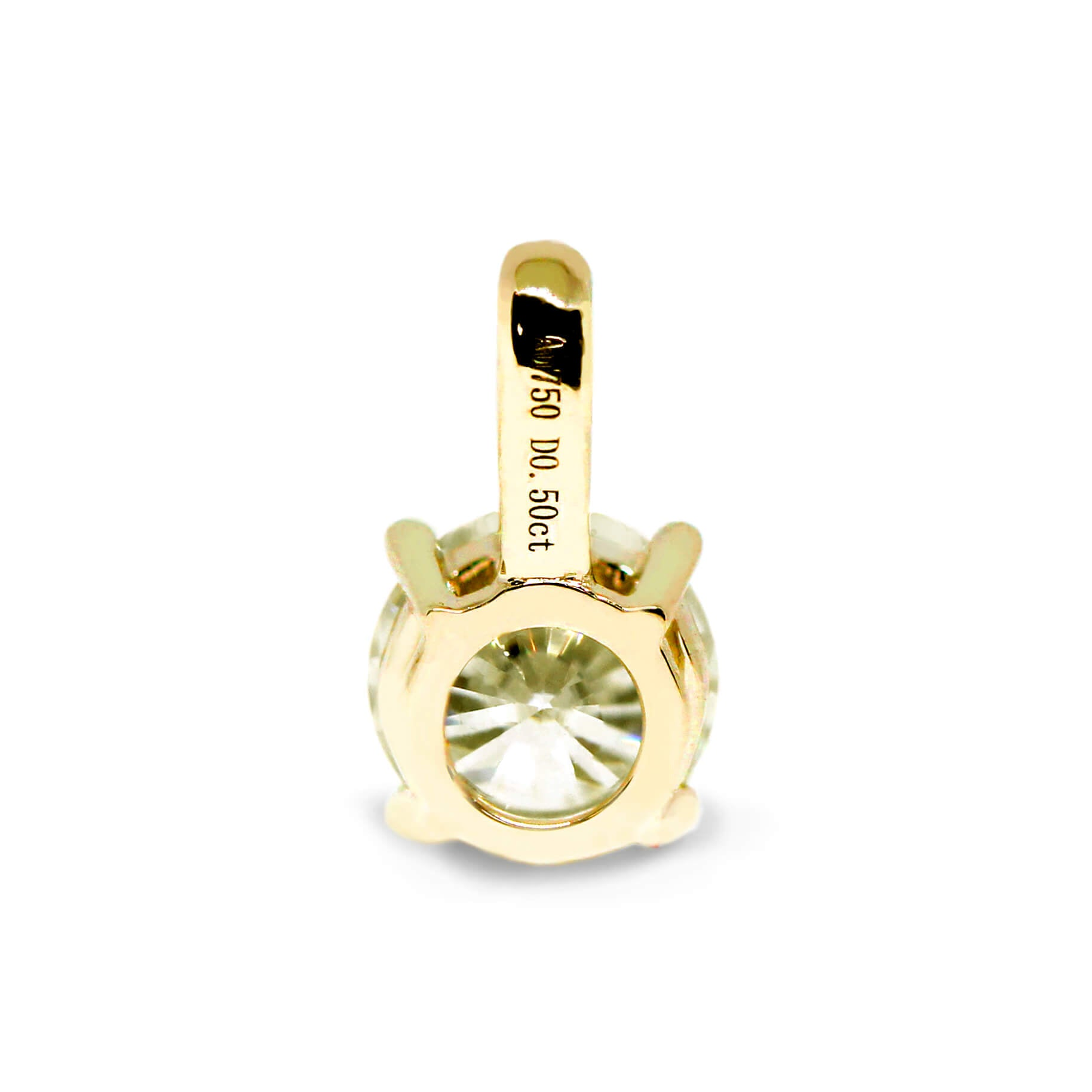 Fancy Light Yellow Moissanite Round Solitaire 18K Gold Pendant