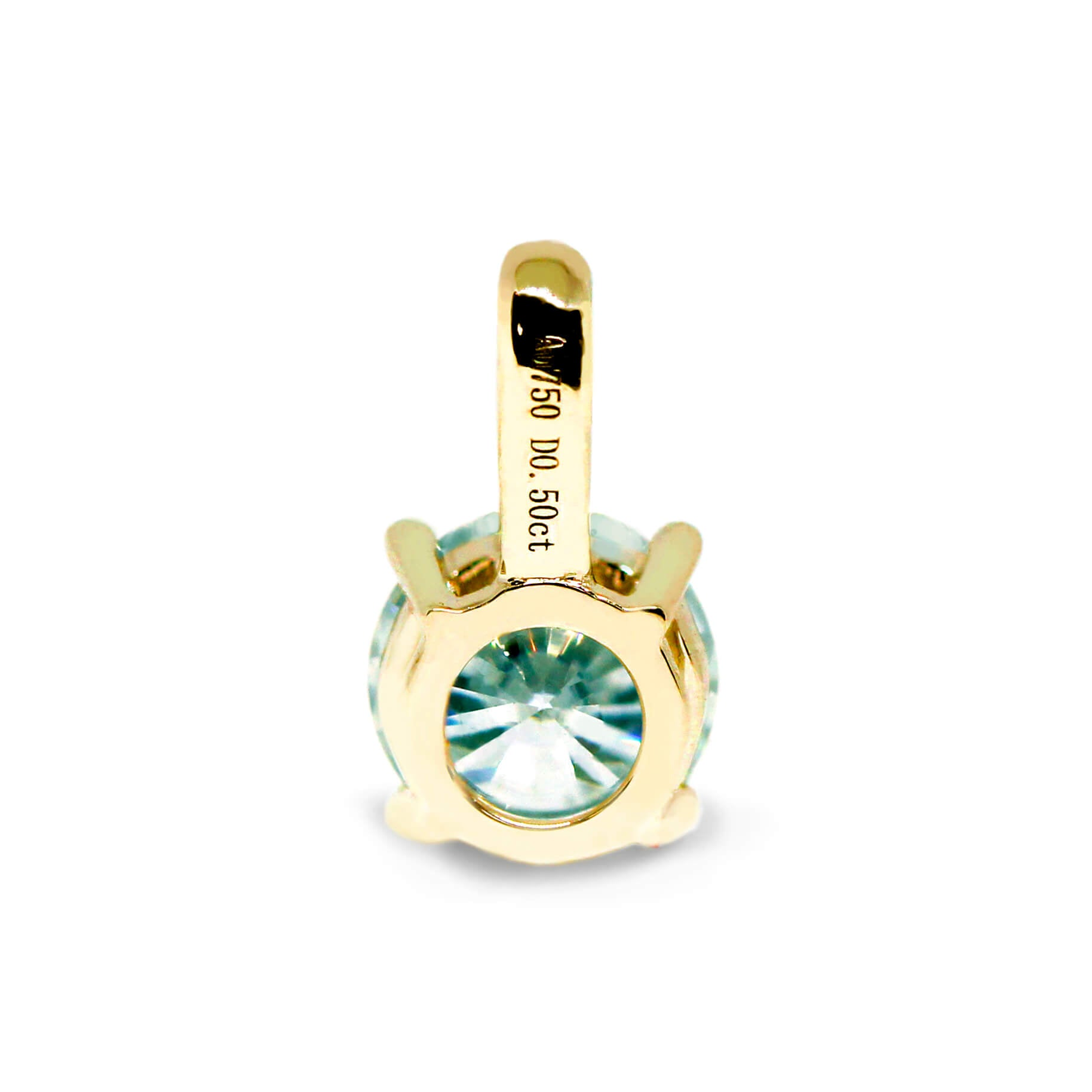 Mint Green Moissanite Round Solitaire 18K Gold Pendant