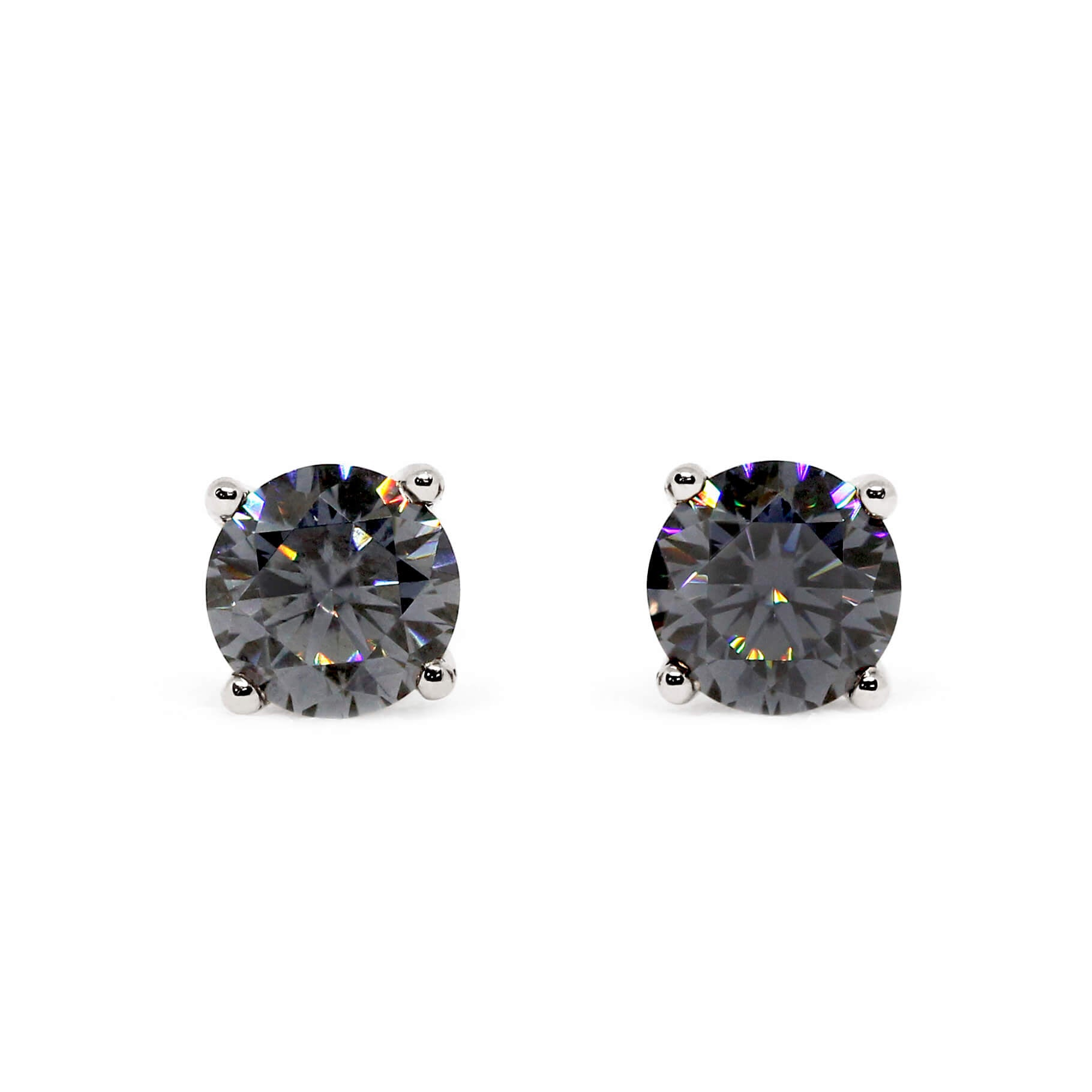 Grey Moissanite Solitaire 18K White Gold Stud Earrings