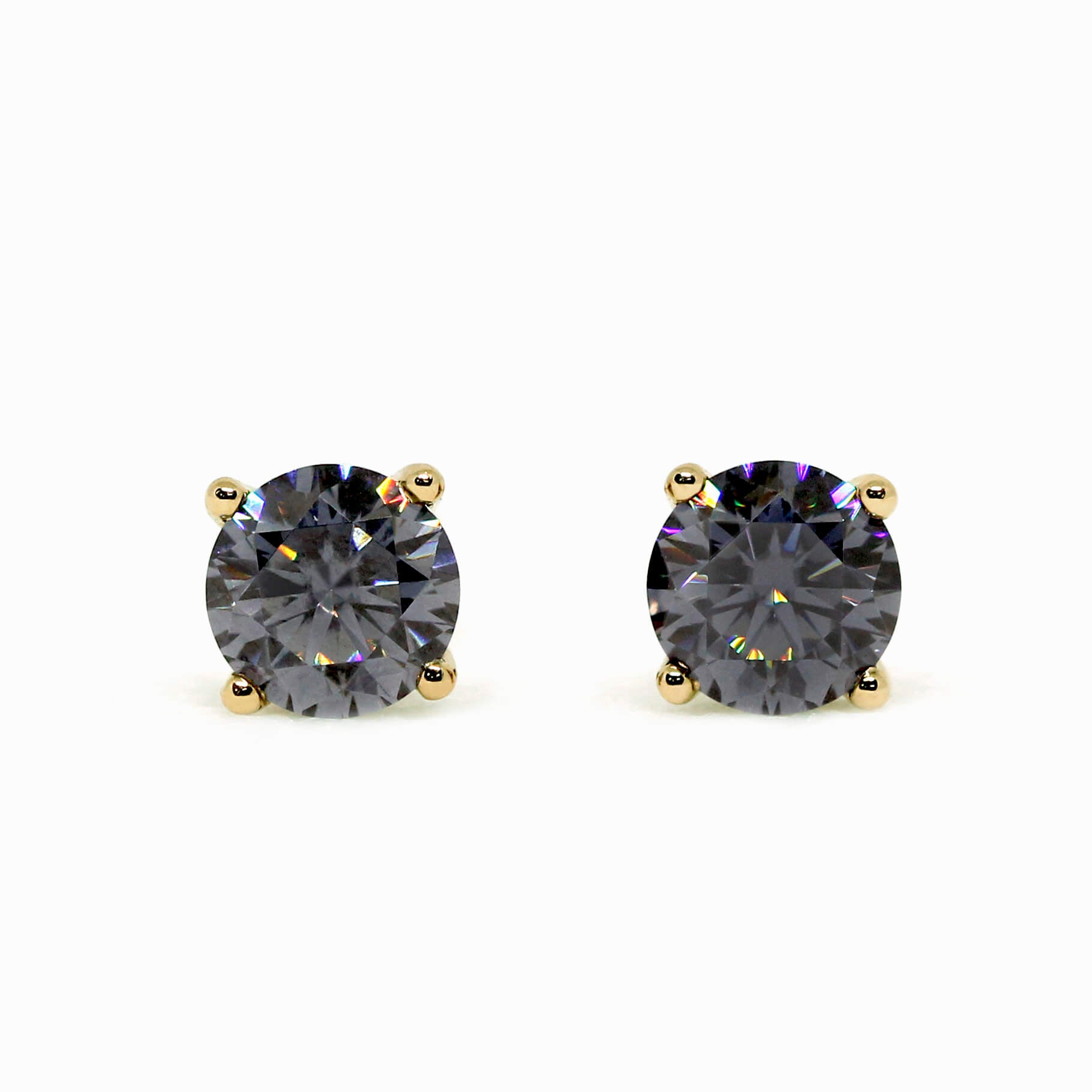 Grey Moissanite Solitaire 18K Yellow Stud Earrings