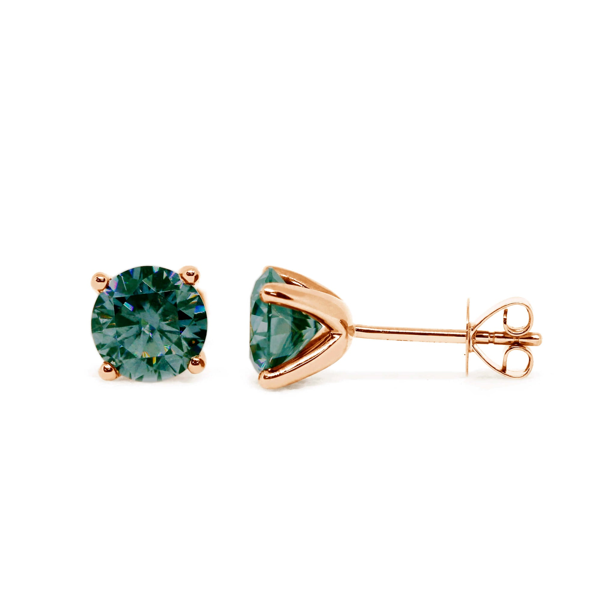 Dark Green Moissanite Solitaire 18K Rose Gold Stud Earrings - Lecaine Gems Moissanite