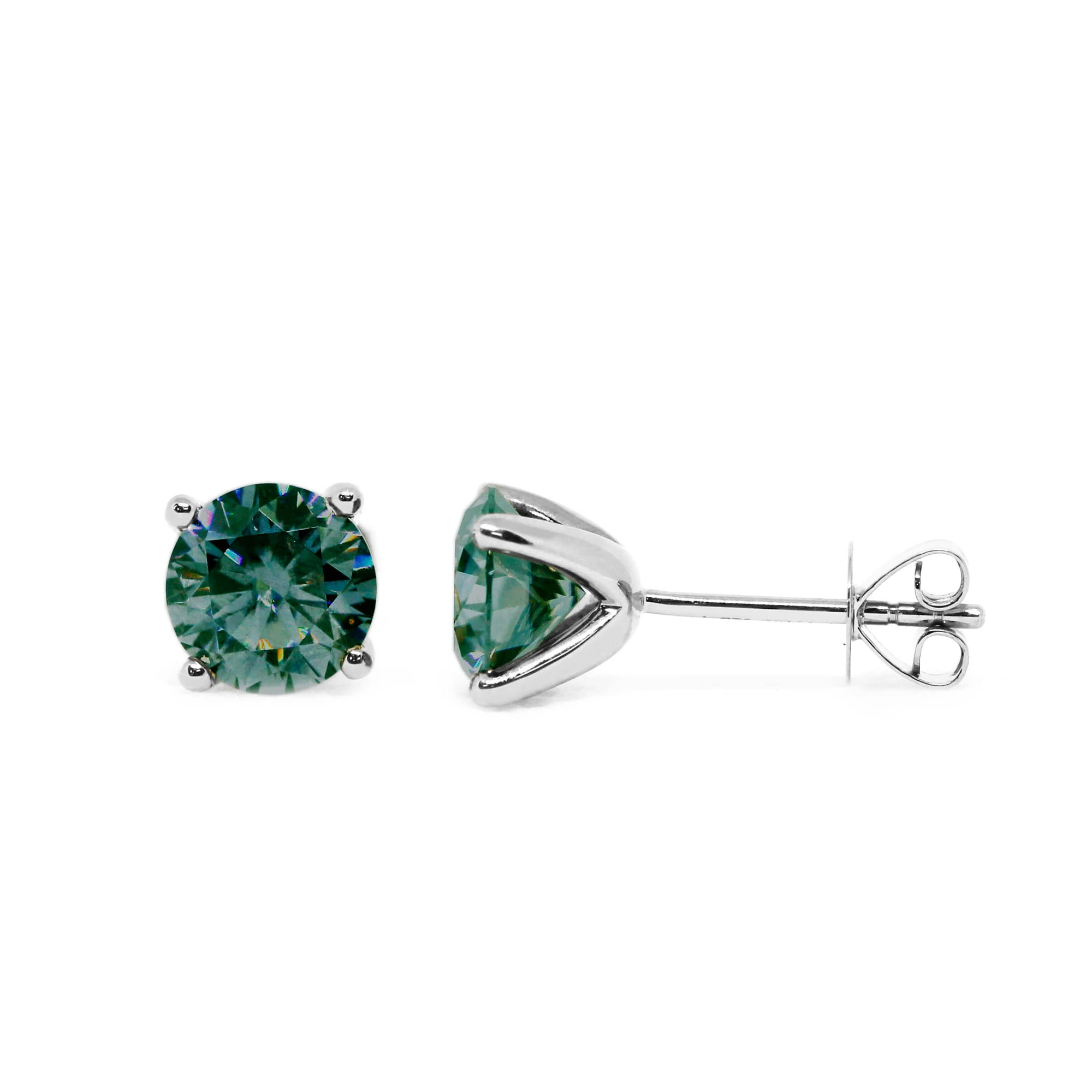Dark Green Moissanite Solitaire 18K White Gold Stud Earrings - Lecaine Gems Moissanite