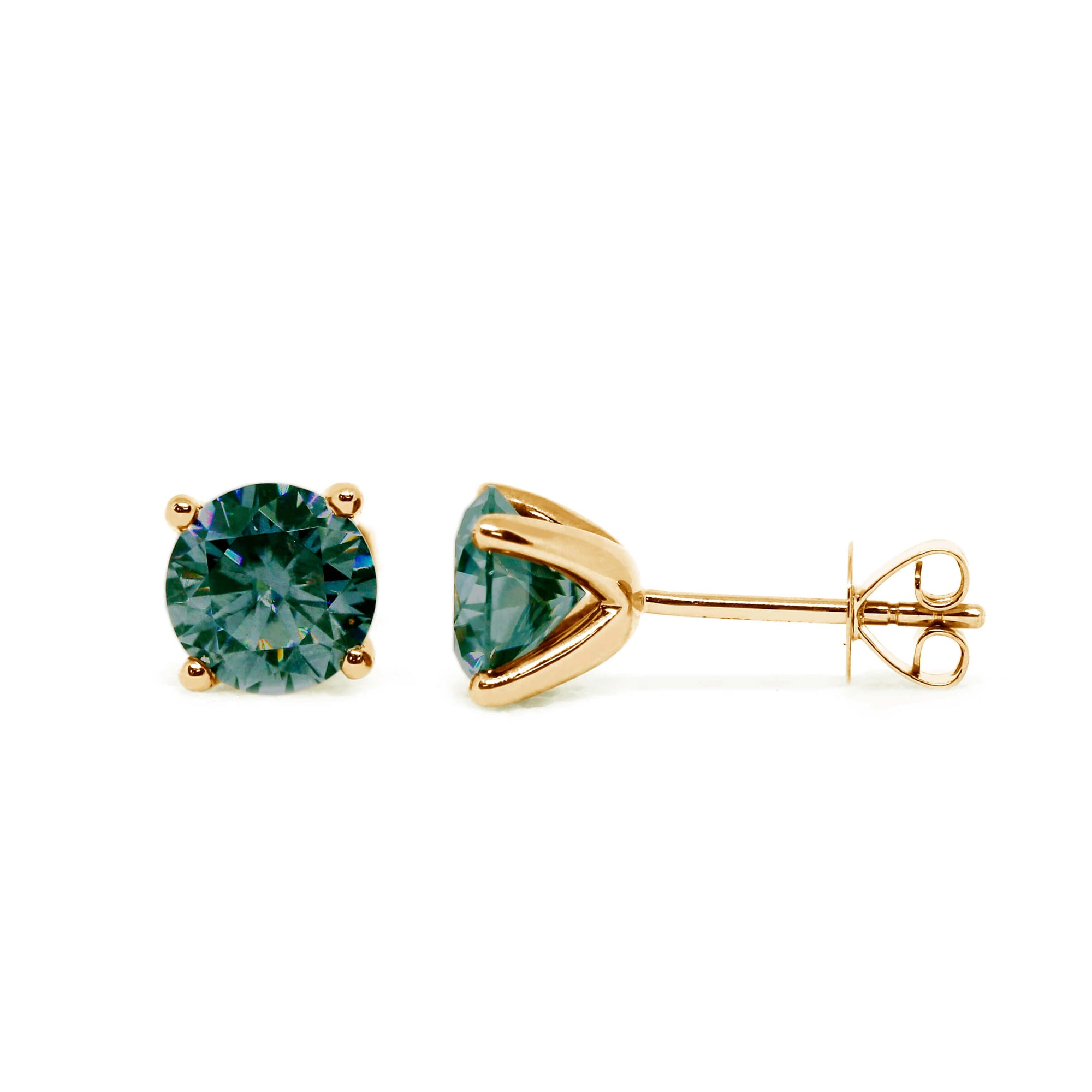 Dark Green Moissanite Solitaire 18K Yellow Gold Stud Earrings - Lecaine Gems Moissanite