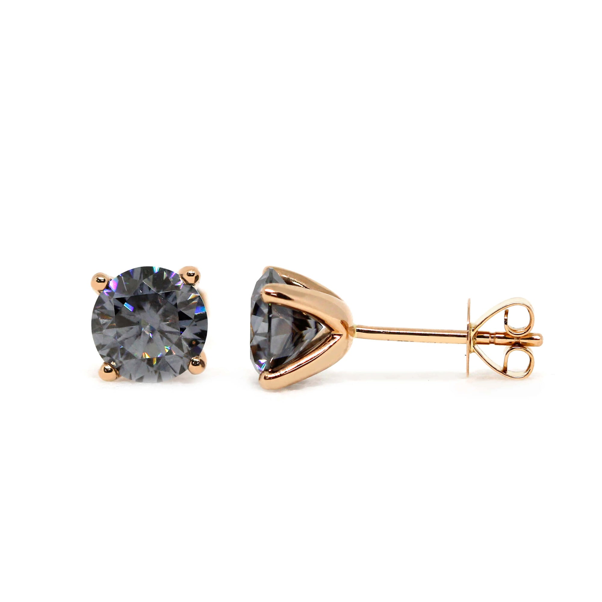 Ready Made | Grey Moissanite Solitaire 18K Rose Gold Stud Earrings - LeCaine Gems