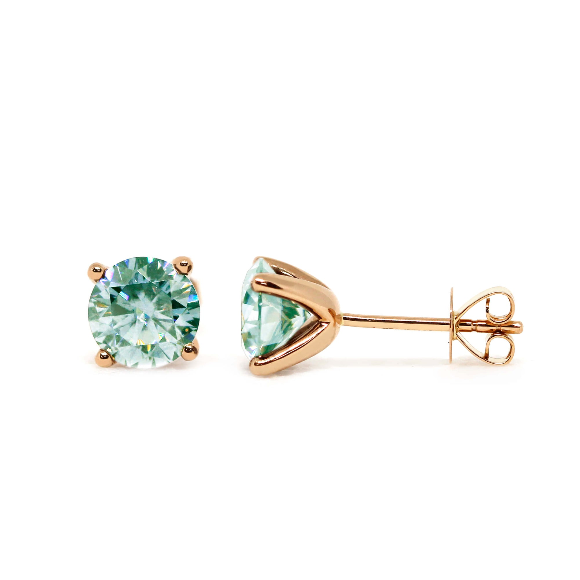 Mint Green Moissanite Solitaire 18K Yellow Gold Stud Earrings - Lecaine Gems Moissanite