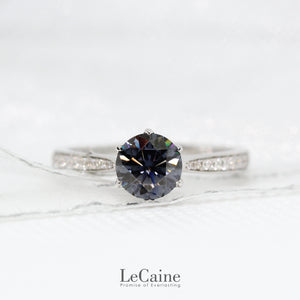 Round Grey Moissanite Accent Ring - LeCaine Gems