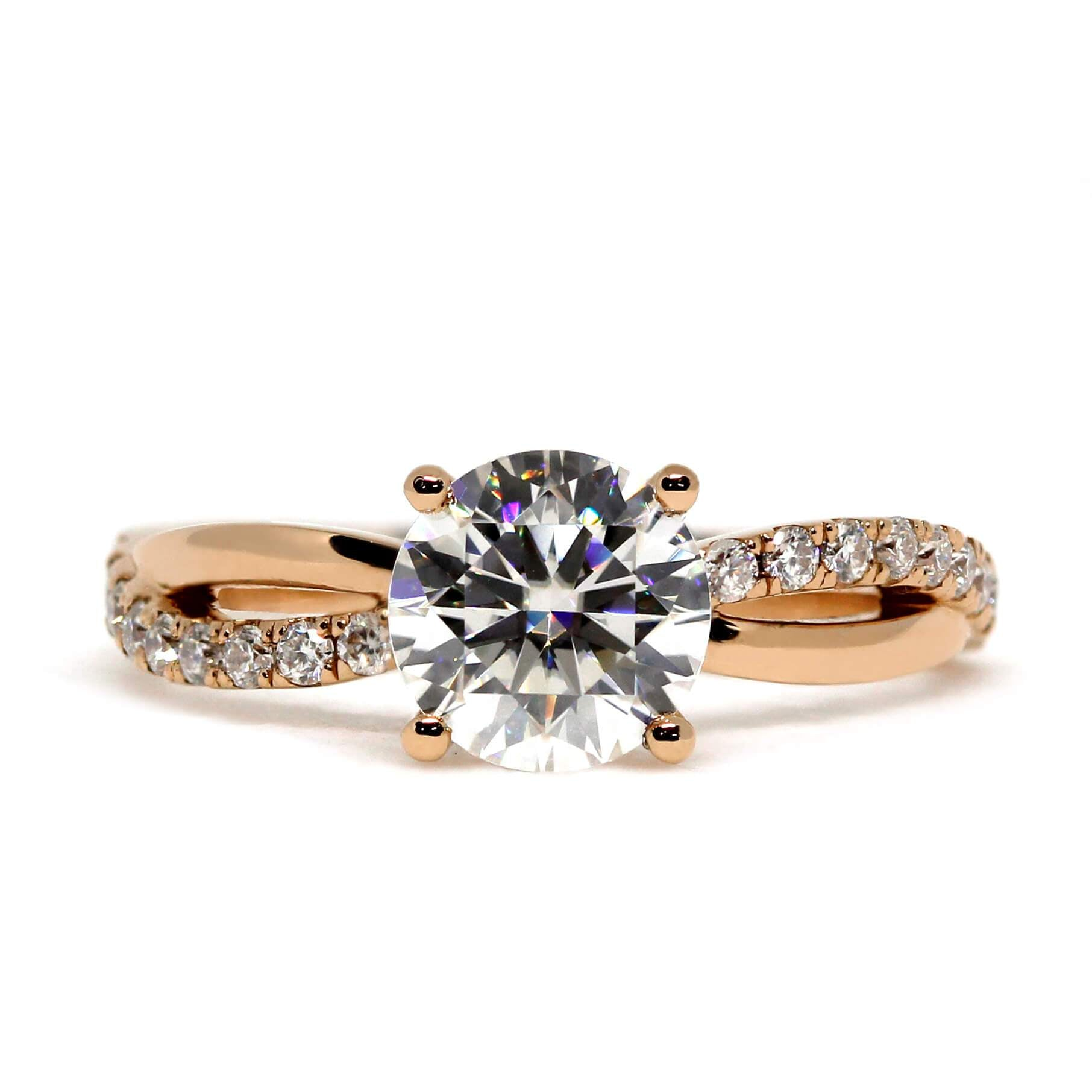 1 carat Round Moissanite Solitaire Accents 18K Rose Gold Ring