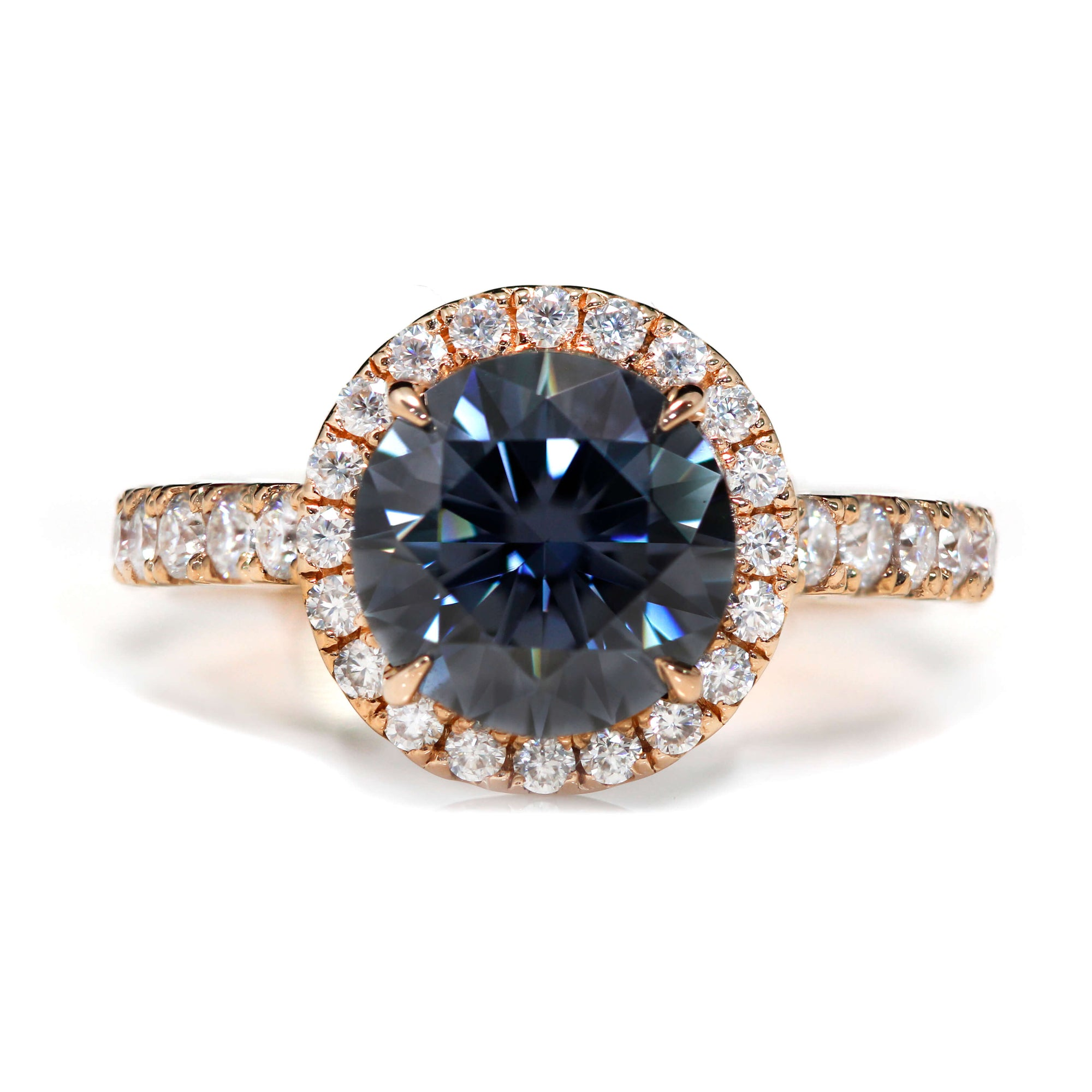 Ready Made | Round Halo Grey Moissanite Accent Ring - LeCaine Gems