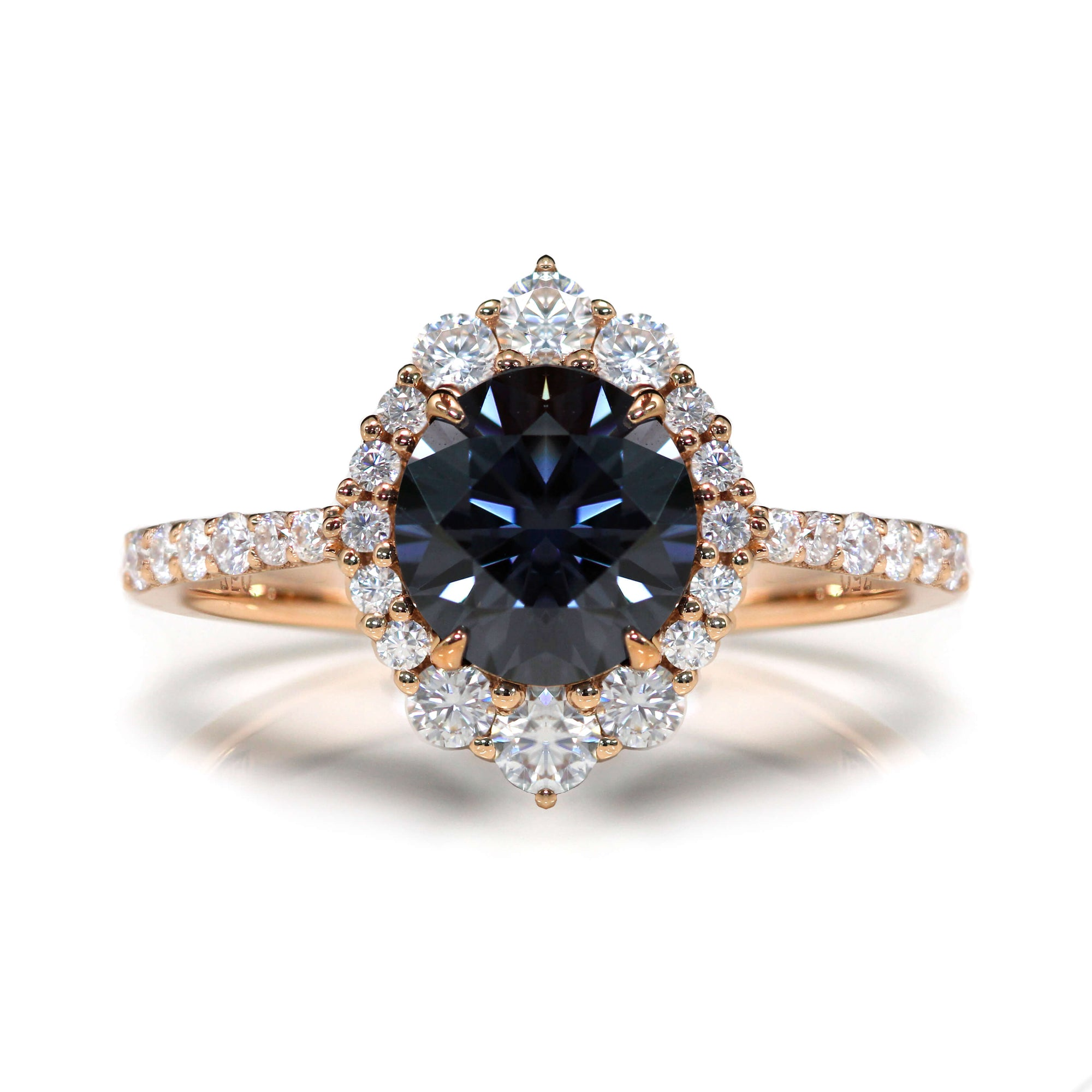 Ready Made | 2 Carat Vintage Halo Grey Moissanite Ring - LeCaine Gems
