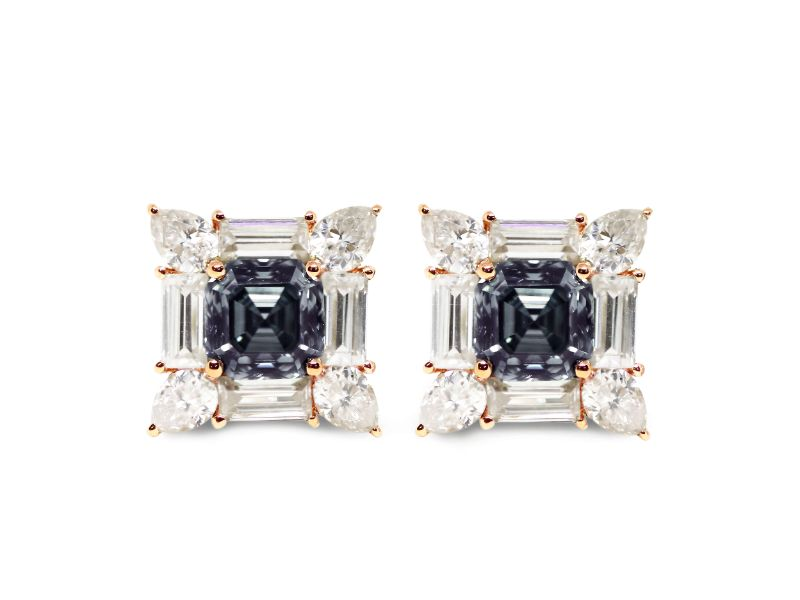 2.5 Carat Blue Grey Asscher Moissanite Earrings with Baguette and Pear Accents - Lecaine Gems Moissanite