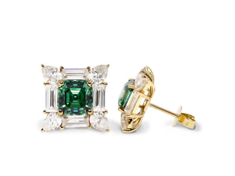 2.5 Carat Emerald Green Moissanite Earrings with Baguette and Pear Accents - Lecaine Gems Moissanite