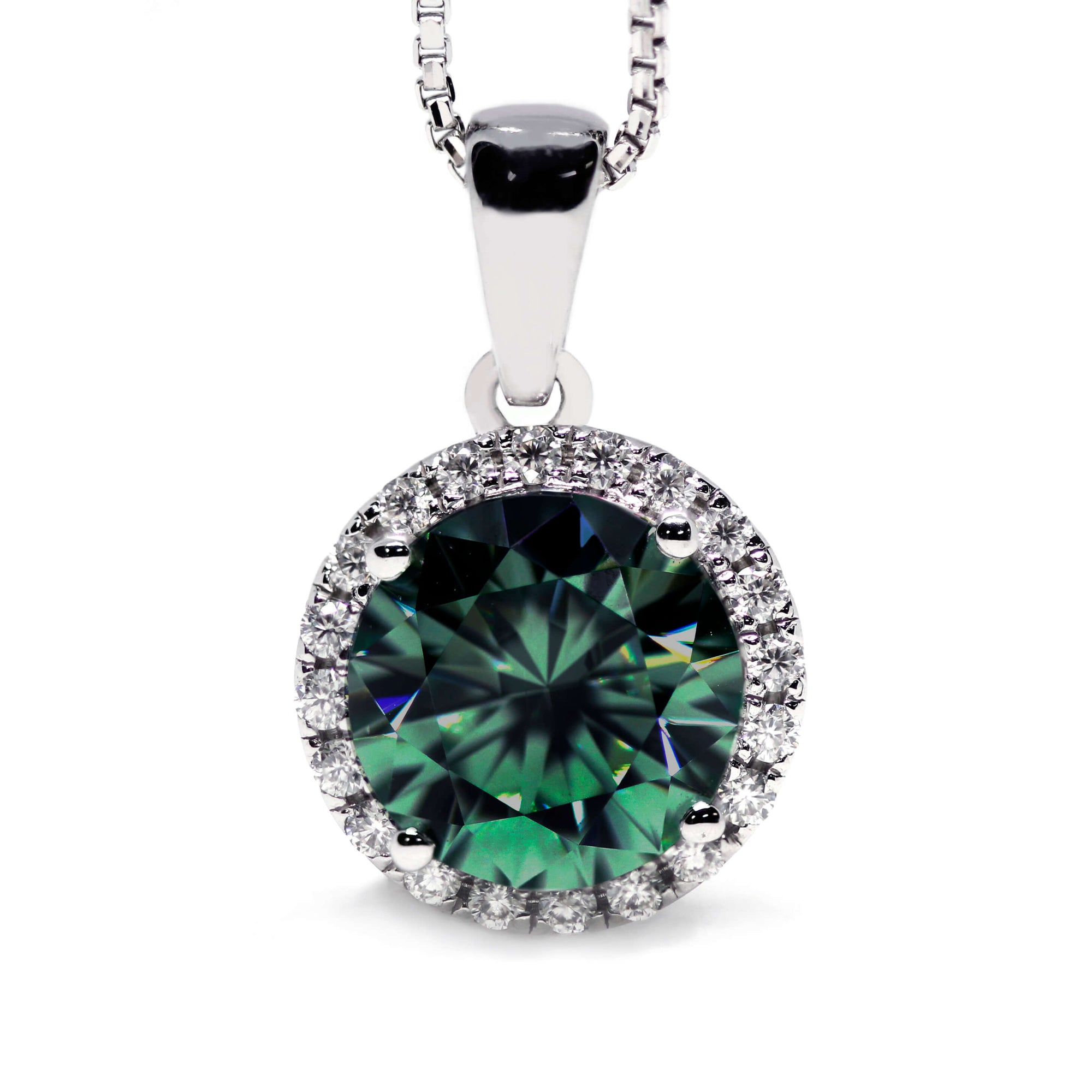 2 Carat Dark Green Moissanite Round Halo 18K Gold Pendant - Lecaine Gems Moissanite